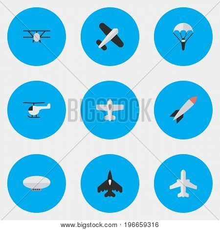 Elements Flying Vehicle, Catapults, Airliner And Other Synonyms Airliner, Aviation And Flying.  Vector Illustration Set Of Simple Airplane Icons.