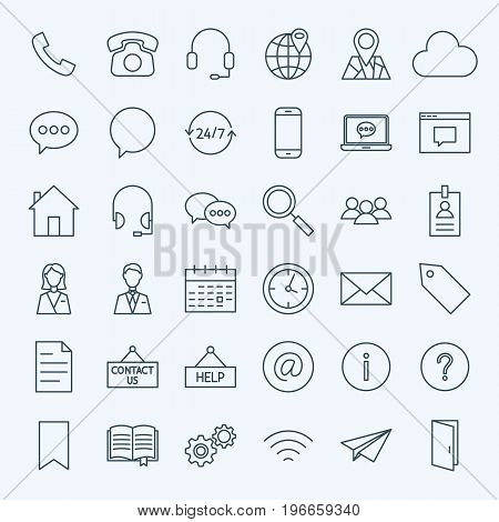 Line Contact Us Icons. Vector Set of Outline Business and Computer Symbols.