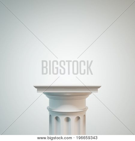 White classic column against a white background. Concept of classicism and decoration trends. 3d rendering mock up