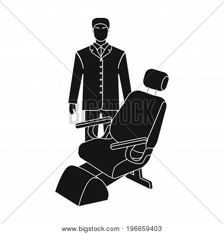 The doctor is a dentist in a white dressing gown in the office next to the chair. Medicine single icon in black style vector symbol stock illustration .
