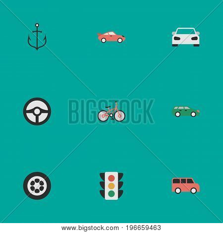 Elements Family, Sedan, Steering And Other Synonyms Sport, Lighter And Coupe.  Vector Illustration Set Of Simple Shipping Icons.