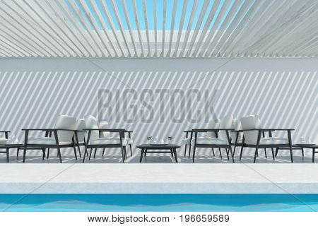 Outdoors swimming pool interior with a ceiling made of white wooden planks and many white and dark wood armchairs standing near a small coffee table. 3d rendering mock up