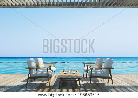 White armchairs standing near wooden tables in an outdoors cafe with a wooden ceiling and floor. Pier. Seaside. 3d rendering mock up
