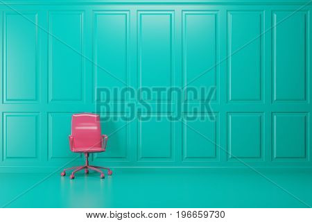 Bright pink office chair is standing in an empty emerald room with a blue floor. Concept of minimalism. 3d rendering mock up