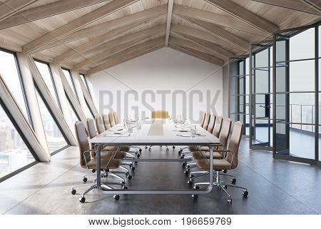 Attic conference room interior with a long table rows of white chairs near it and glass doors. 3d rendering mock up