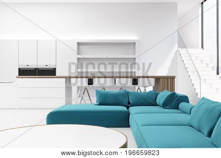 White living room interior with a kitchen corner a round table a blue sofa and a bar with white stools. 3d rendering mock up