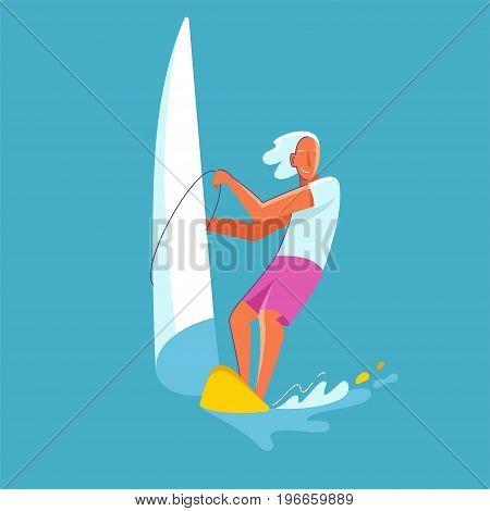 Vector Summer Illustration In Modern Trendy Flat Linear Style - Happy Guy Windsurfing