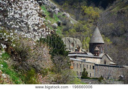 Ancient Geghard monastery and blossom tree Armenia