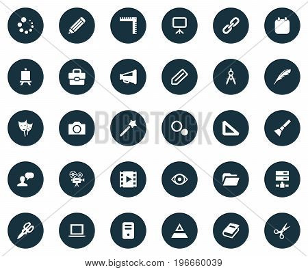 Elements Loading, Laptop, Movie And Other Synonyms Progress, Shears And Server.  Vector Illustration Set Of Simple Design Icons.