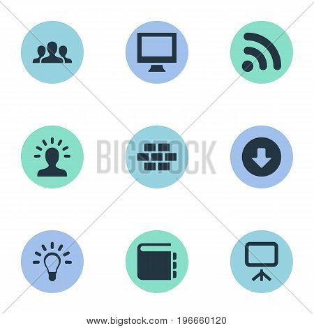 Elements Wireless Connection, Monitor, Team And Other Synonyms Office, Imagination And Layering.  Vector Illustration Set Of Simple UI Icons.