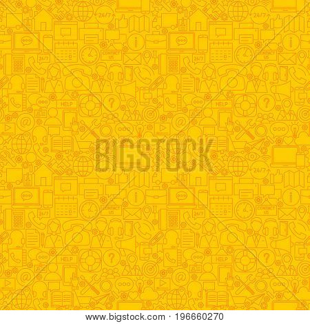 Yellow Line Contact Us Seamless Pattern. Vector Illustration of Outline Tile Background. Business Communication.