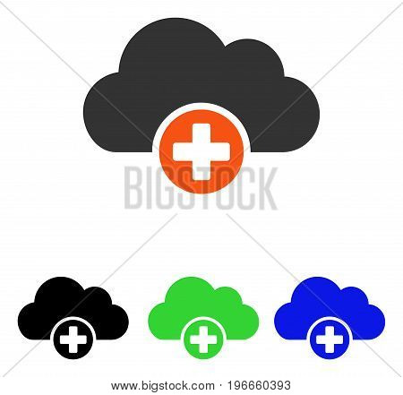Cloud Medicine vector pictogram. Illustration style is a flat iconic colored symbol with different color versions.