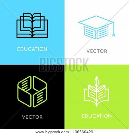 Vector Set Of Abstract Logo Design Templates- Online Education And Learning Concepts