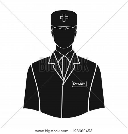 The man is a doctor in uniform. Medicine single icon in black style vector symbol stock illustration .