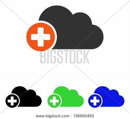 Create Cloud vector icon. Illustration style is a flat iconic colored symbol with different color versions.