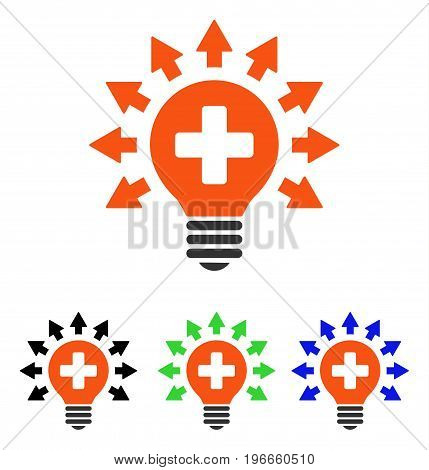 Disinfection Lamp vector pictograph. Illustration style is a flat iconic colored symbol with different color versions.