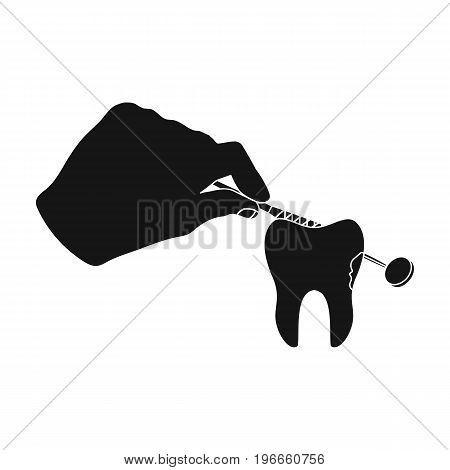 Manipulation, gesture of the hand of the dentist with the instrument over the damaged tooth. Stomatology single icon in black style vector symbol stock illustration .