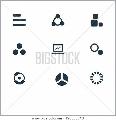 Elements Square, Part, Cycle And Other Synonyms Process, Diagram And Document.  Vector Illustration Set Of Simple Chart Icons.