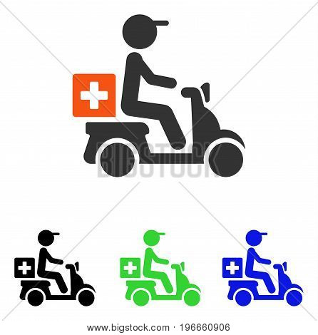 Drugs Motorbike Delivery vector icon. Illustration style is a flat iconic colored symbol with different color versions.
