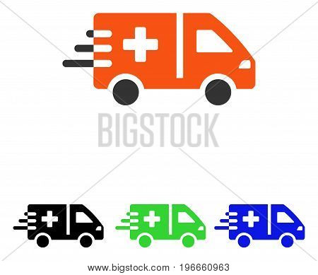 Emergency Car vector pictograph. Illustration style is a flat iconic colored symbol with different color versions.