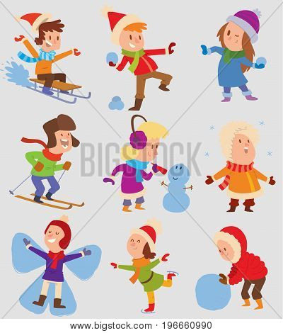Christmas kids playing winter games. Skating, skiing, sledding, girl dresses up Christmas tree, boy makes a snow man, children playing snowballs. Cartoon New Year winter holidays background.