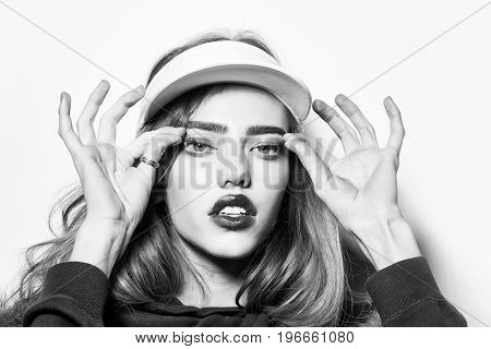 S Woman With Long Hair In Sport Cap