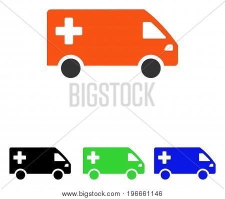 Emergency Van vector icon. Illustration style is a flat iconic colored symbol with different color versions.