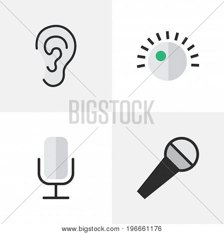 Elements Regulator, Record, Mike And Other Synonyms Mic, Regulator And Listen.  Vector Illustration Set Of Simple Sound Icons.