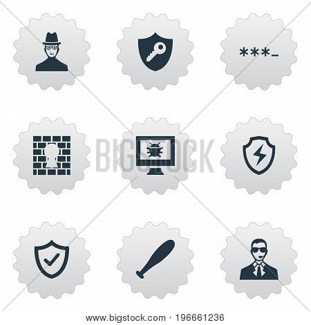 Elements Virus, Under Protection, Conservation And Other Synonyms Approve, Okay And Protection.  Vector Illustration Set Of Simple Safety Icons.