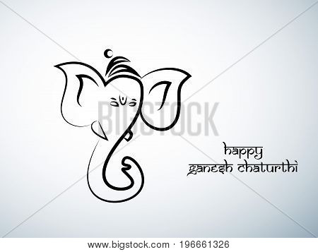 illustration of face of Hindu God Ganesh with happy Ganesh Chaturthi text on the occasion of Hindu Festival Ganesh Chaturthi