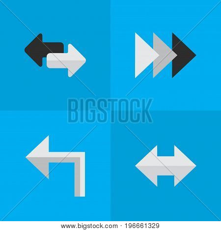 Elements Import, Onward, Orientation And Other Synonyms Left, Import And Everyway.  Vector Illustration Set Of Simple Arrows Icons.