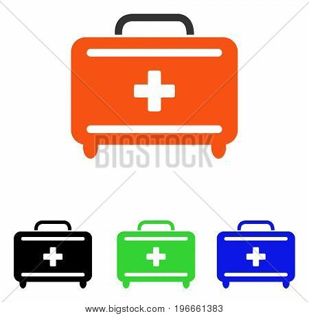 First Aid Toolkit vector pictograph. Illustration style is a flat iconic colored symbol with different color versions.