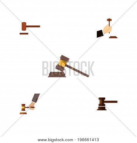 Flat Icon Court Set Of Crime, Law, Court And Other Vector Objects