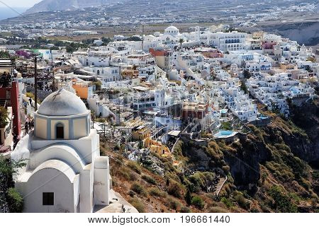 Architecture Of Oia Town On Santorini Island In Greece