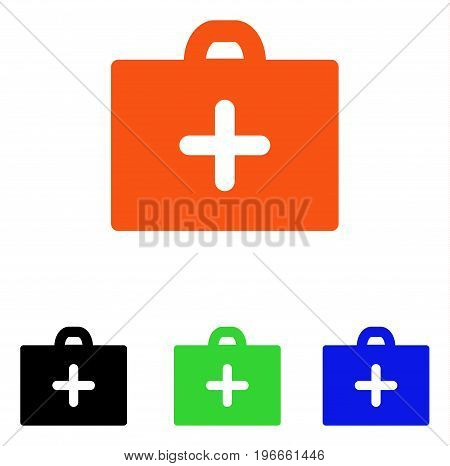 First Aid vector pictogram. Illustration style is a flat iconic colored symbol with different color versions.