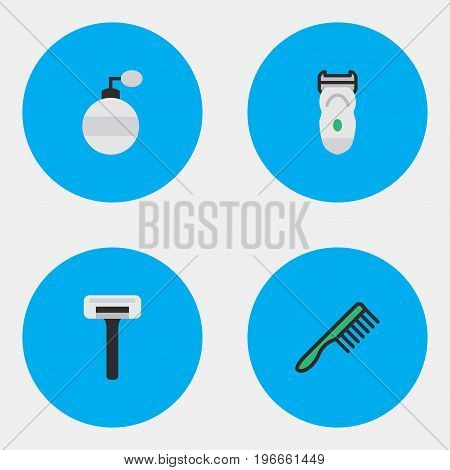 Elements Shaver, Electronic, Fragrance And Other Synonyms Fragrance, Comb And Shaver.  Vector Illustration Set Of Simple Hairdresser Icons.