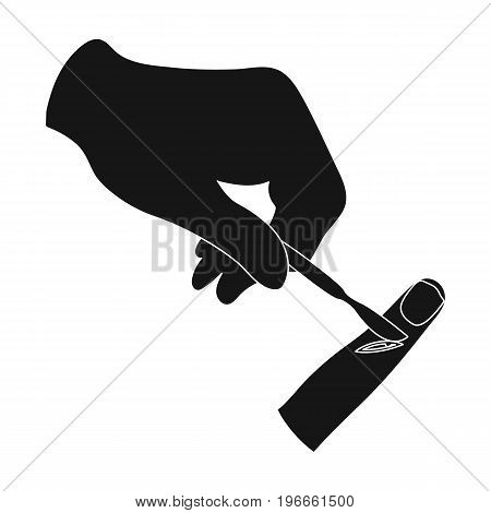 Cut the finger with a surgical scalpel. Surgery single icon in black style vector symbol stock illustration .