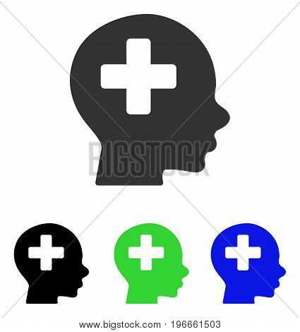 Head Medicine vector pictograph. Illustration style is a flat iconic colored symbol with different color versions.