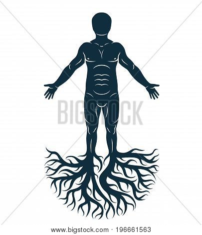 Vector graphic illustration of strong male body silhouette standing on white background and made using tree roots. Tree of life metaphor family roots.