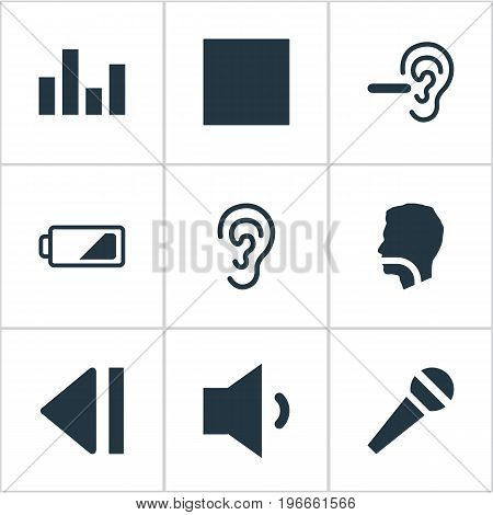 Elements Ear, Multimedia Buttons, Player And Other Synonyms Charge, Equalizer And Low Battery.  Vector Illustration Set Of Simple Audio Icons.