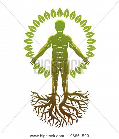 Vector art graphic illustration of strong male body silhouette created using tree roots. Slavic ancient pagan god metaphor.