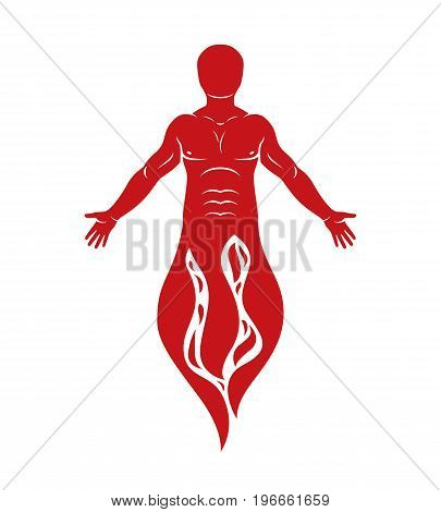 Vector illustration of human being standing. Hephaestus creative metaphor.