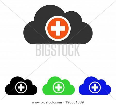 Health Care Cloud vector pictogram. Illustration style is a flat iconic colored symbol with different color versions.