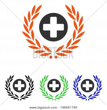 Health Care Embleme vector icon. Illustration style is a flat iconic colored symbol with different color versions.