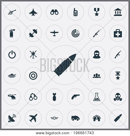 Elements Group, Heavy Weapon, Rifle Gun And Other Synonyms Medallion, Communication And Dumbbell.  Vector Illustration Set Of Simple War Icons.