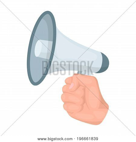 Speaker for voice enhancement. Megaphone in hand single icon in cartoon style vector symbol stock illustration . poster