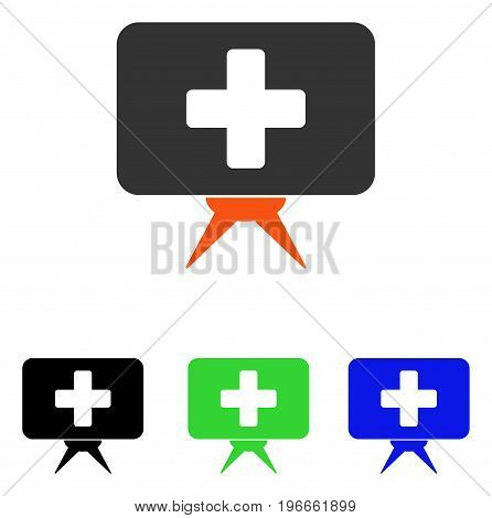 Health Care Presentation vector pictograph. Illustration style is a flat iconic colored symbol with different color versions.