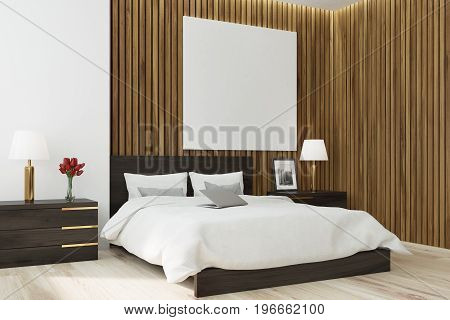 Wooden Bedroom Square Poster, Side