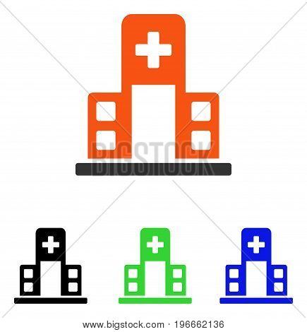 Hospital Building vector pictograph. Illustration style is a flat iconic colored symbol with different color versions.