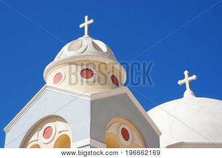 Santorini Island, Greece, Bell Tower Of A Church At Sunset